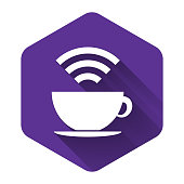 White Cup of coffee shop with free wifi zone icon isolated with long shadow. Internet connection placard. Purple hexagon button. Vector Illustration