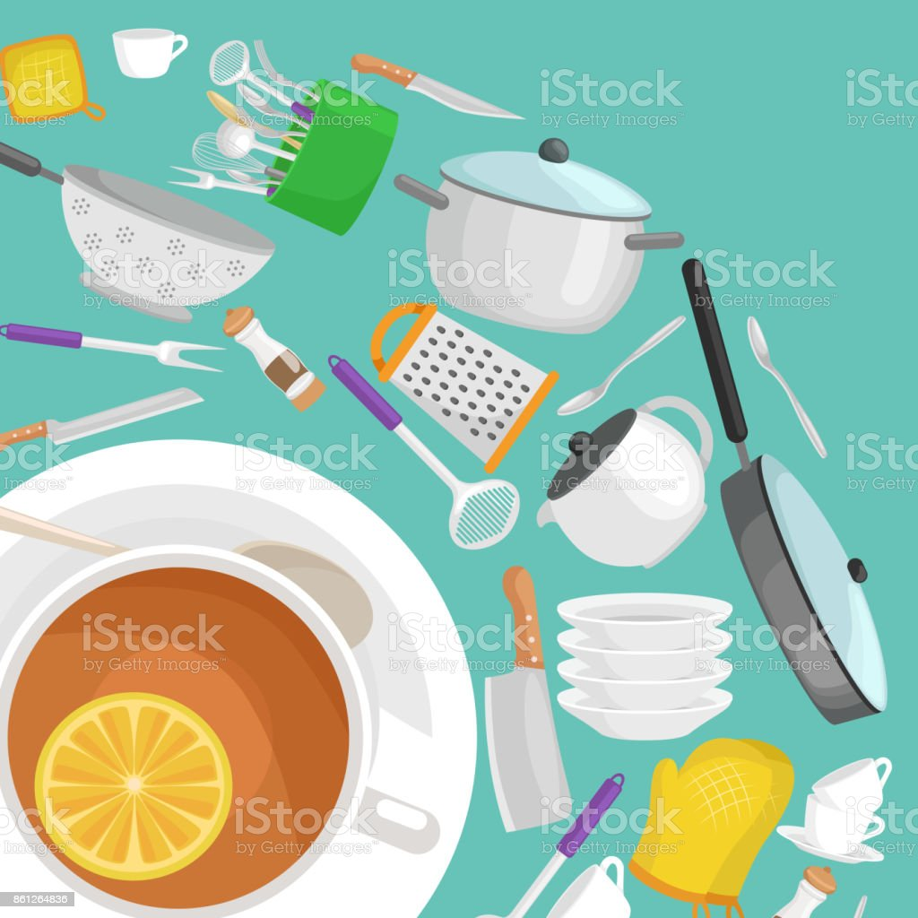White Cup Of Tea And Slice Lemon On A Saucer Other Cartoon Kitchen ...