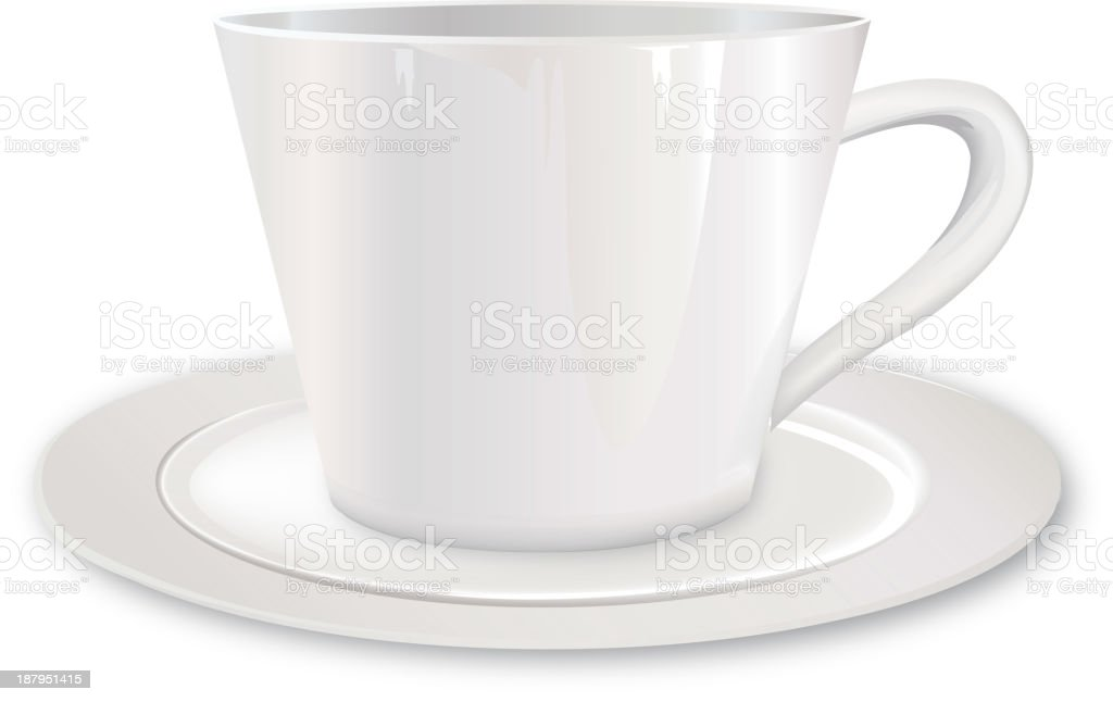 White cup with saucer royalty-free stock vector art