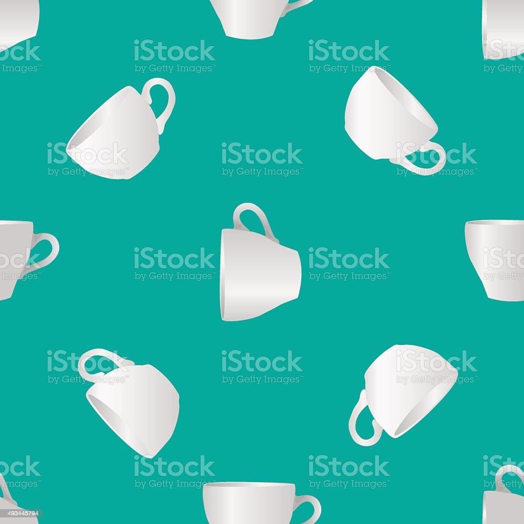 White cups seamless pattern vector art illustration