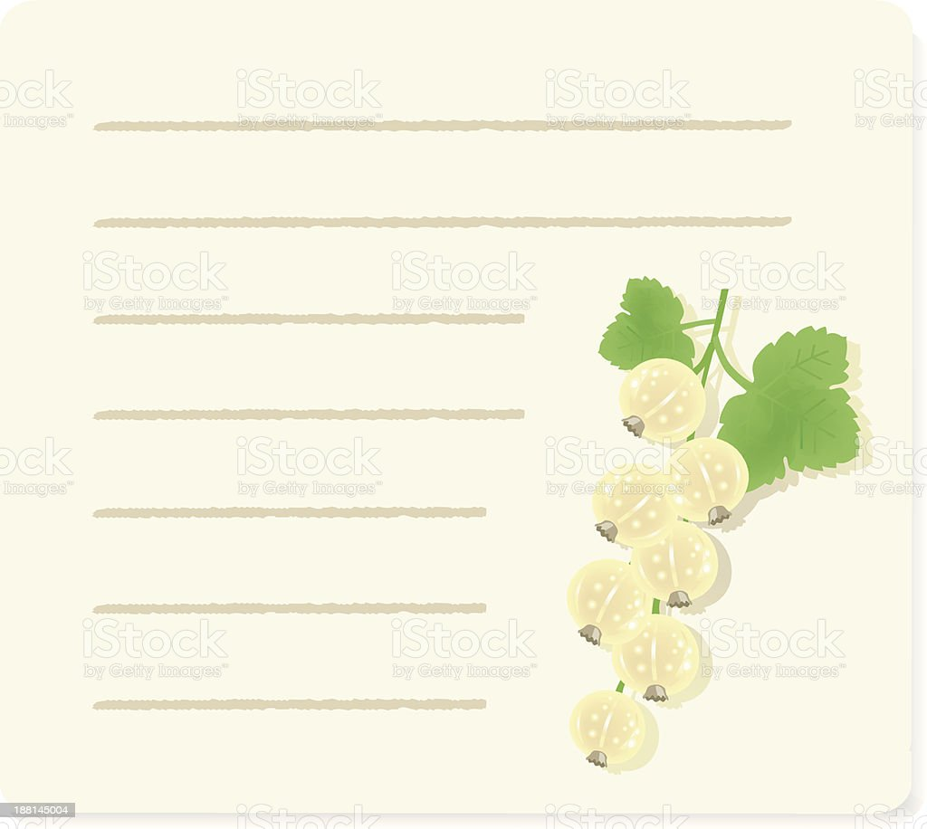 white currants on recipepaper. royalty-free stock vector art