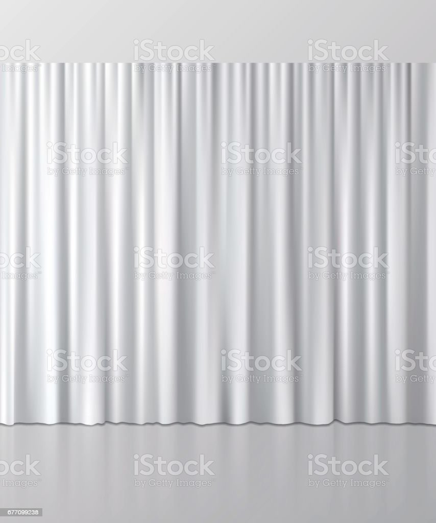White curtain background. Vector illustration. royalty-free white curtain background vector illustration stock illustration - download image now