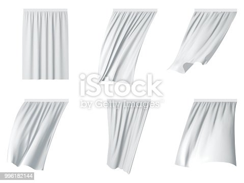 White fluttering curtain set. Vector realistic illustration isolated on white background.