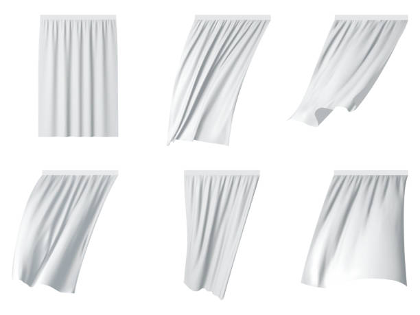 White curtain set vector realistic illustration White fluttering curtain set. Vector realistic illustration isolated on white background. curtain stock illustrations