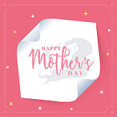 White curved corner paper banner with illustration of sleeping woman and her baby for Happy Mother's Day celebration.