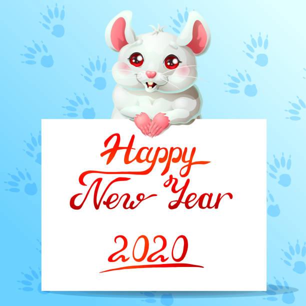 Bекторная иллюстрация White cute mouse and banner on blue
