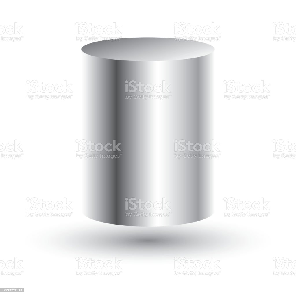 White Cylinder Isolated on White Background. vector art illustration