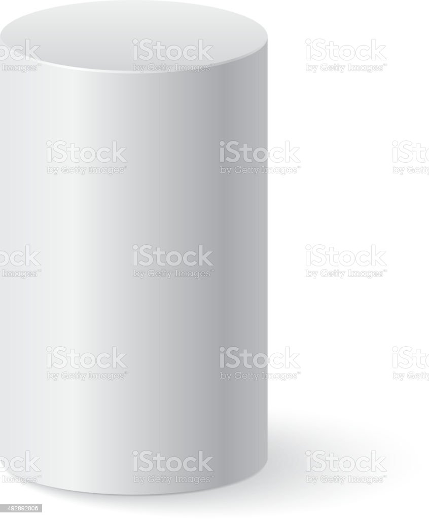 White cylinder isolated vector art illustration