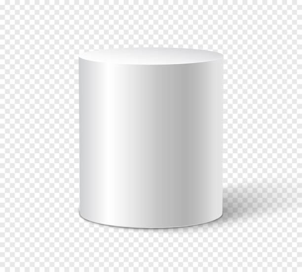 White cylinder on isolated background. 3d object cylinder container design template White cylinder on isolated background. 3d object cylinder container design template. cylinder stock illustrations