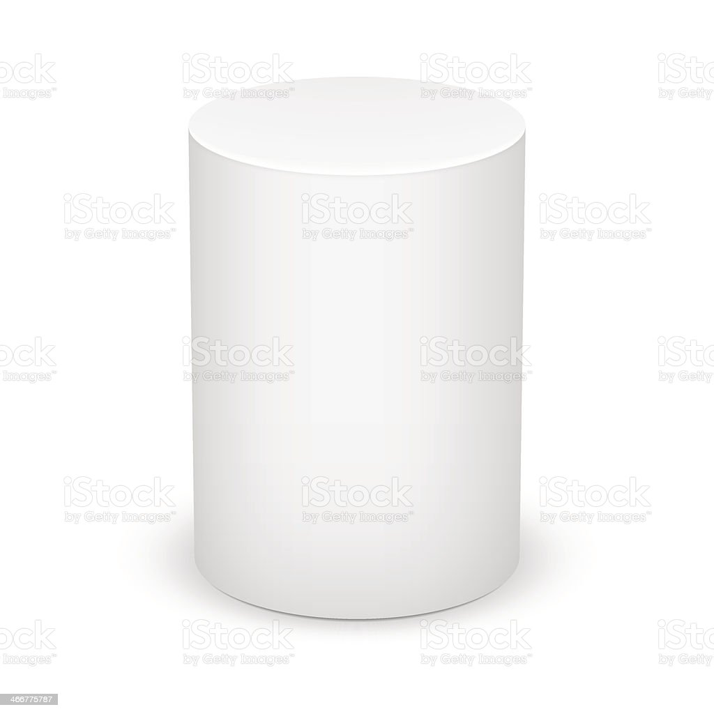 White cylinder. vector art illustration