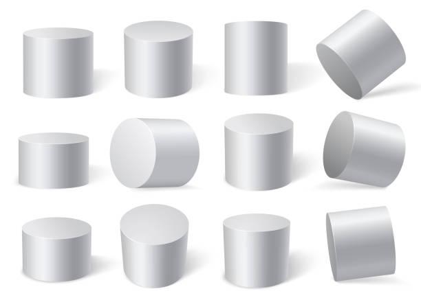 weißen zylinder auf verschiedenen blickwinkeln. - zylinder stock-grafiken, -clipart, -cartoons und -symbole