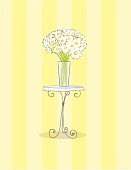 French wire table with white daisies on a striped background. Grouped for easy editing or removal of background.