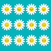 White daisy chamomile icon emoji set set. Funny kawaii cartoon characters. Emotion collection.
