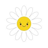 White daisy chamomile with face head. Cute flower plant collection. Love card. Camomile icon. Cute cartoon smiling character. Growing concept. Flat design. White background.
