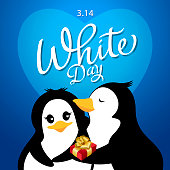 A boy friend penguin hugging, kissing and giving gift to girl friend penguin on the White Day