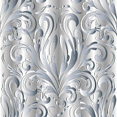 Damask baroque silver 3d seamless pattern. Vector drapery light floral background with hand drawn white flowers, swirls, dots, curves, baroque style ornaments.  Surface design for wallpaper, fabric