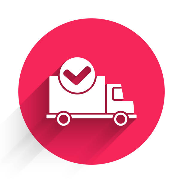 White Delivery truck with check mark icon isolated with long shadow. Red circle button. Vector Illustration White Delivery truck with check mark icon isolated with long shadow. Red circle button. Vector Illustration business clipart stock illustrations