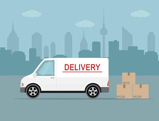 White delivery van on city background. vector art illustration