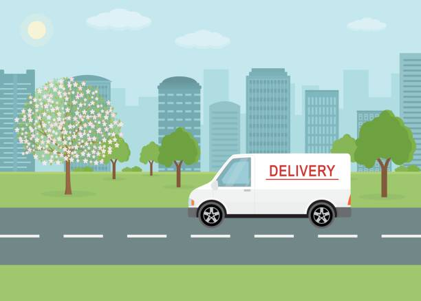white delivery van on city background. - delivery van stock illustrations, clip art, cartoons, & icons