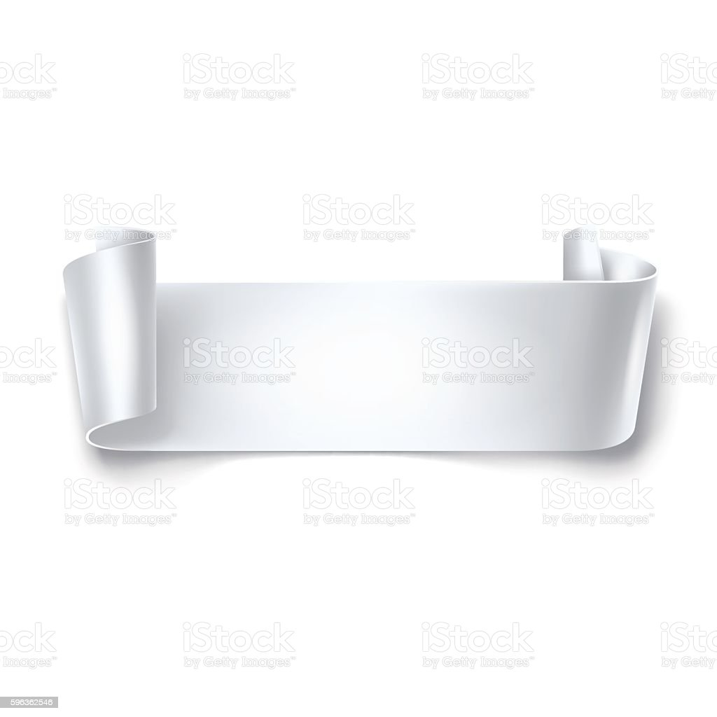 White detailed curved ribbon isolated on white background. – Vektorgrafik