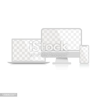 White devices. Computer, smartphone and laptop with transportent screen and shadow on a white background. Vector illustration