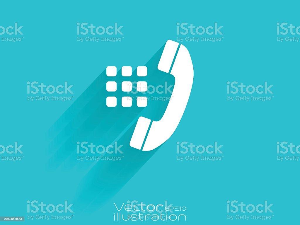 White dialer icon on blue background vector art illustration