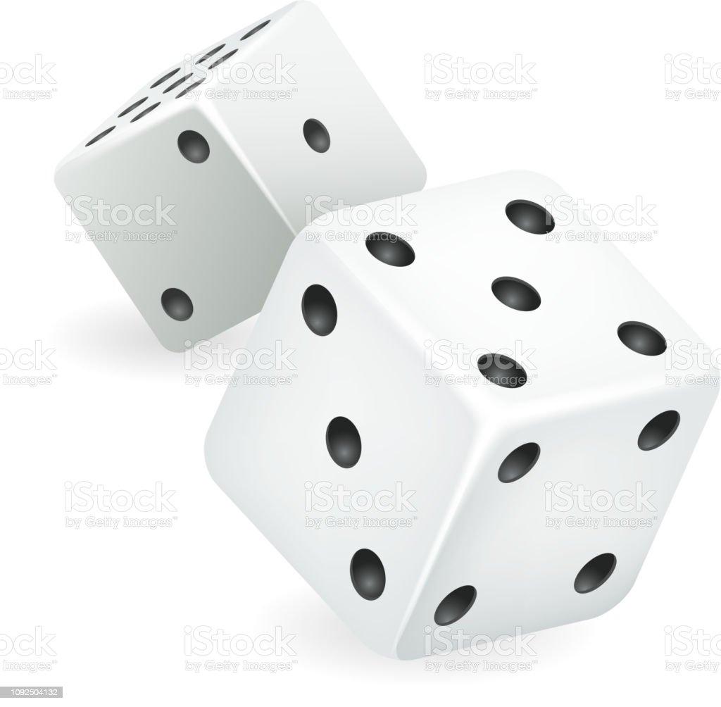 Beyaz zar 3d gerçekçi casino kumar oyunu hazırladılar izole simge vektör çizim vektör sanat illüstrasyonu