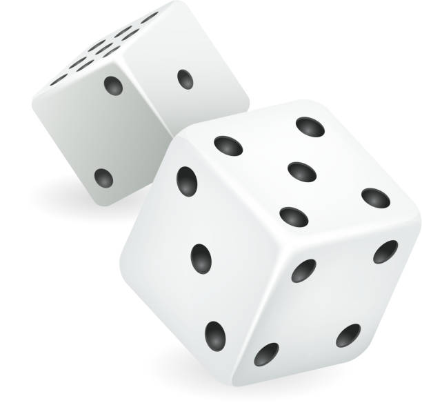 illustrazioni stock, clip art, cartoni animati e icone di tendenza di white dice 3d realistic casino gambling game deisgn isolated icon vector illustration - gioco dei dadi