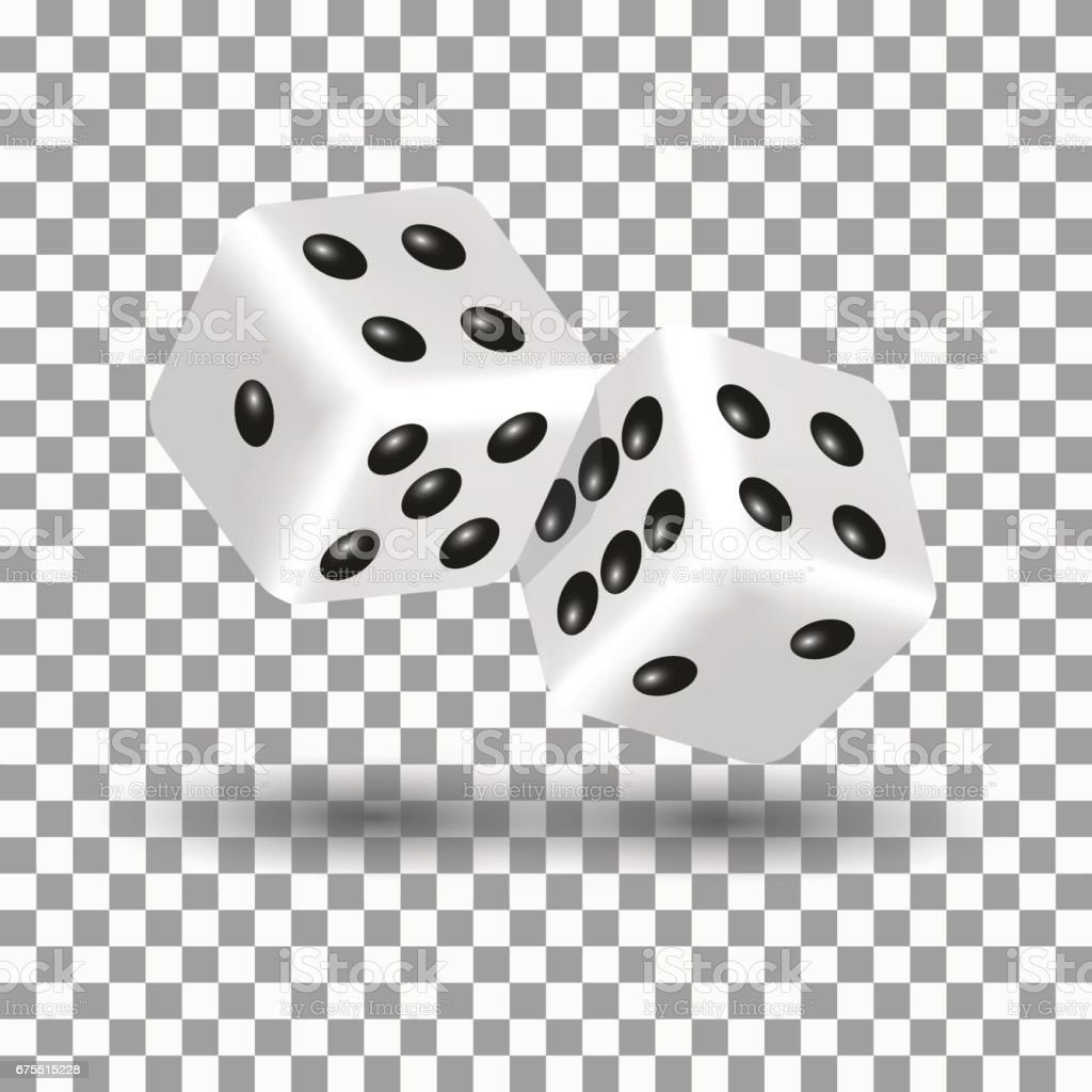 White dice in 3D style, vector illustration.