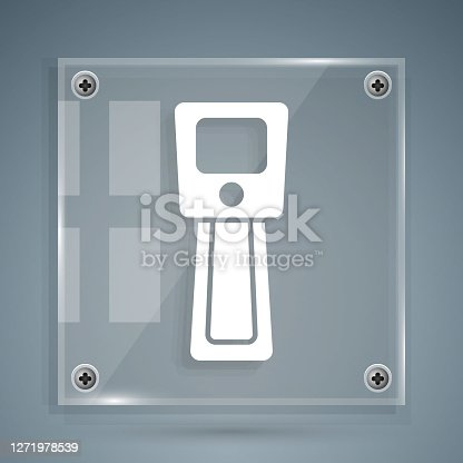 istock White Digital contactless thermometer with infrared light icon isolated on grey background. Square glass panels. Vector 1271978539