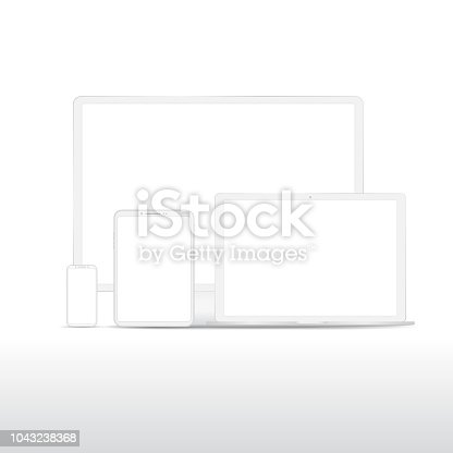 White custom made digital devices with empty screen isolated on white background