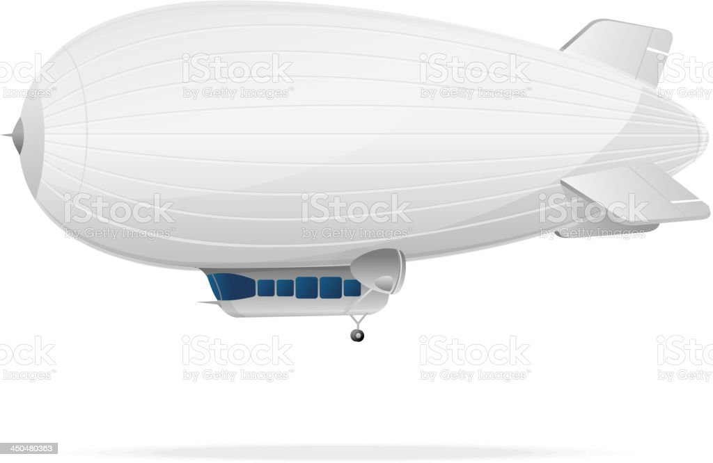White dirigible balloon vector art illustration
