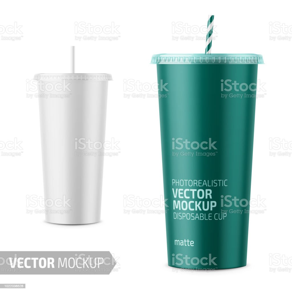 White disposable paper cup with lid and straw. vector art illustration