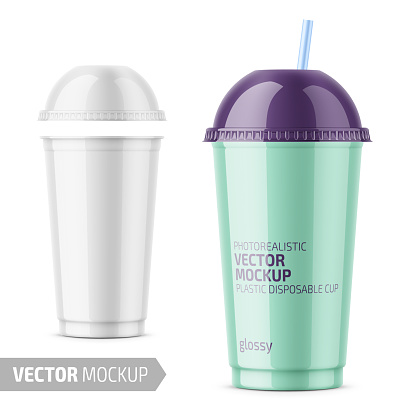 White disposable plastic cup with sample design.