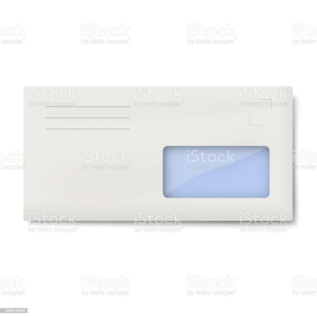 Whitedlumschlag Mit Fenster Für Adresse Isoliert Stock Vektor Art