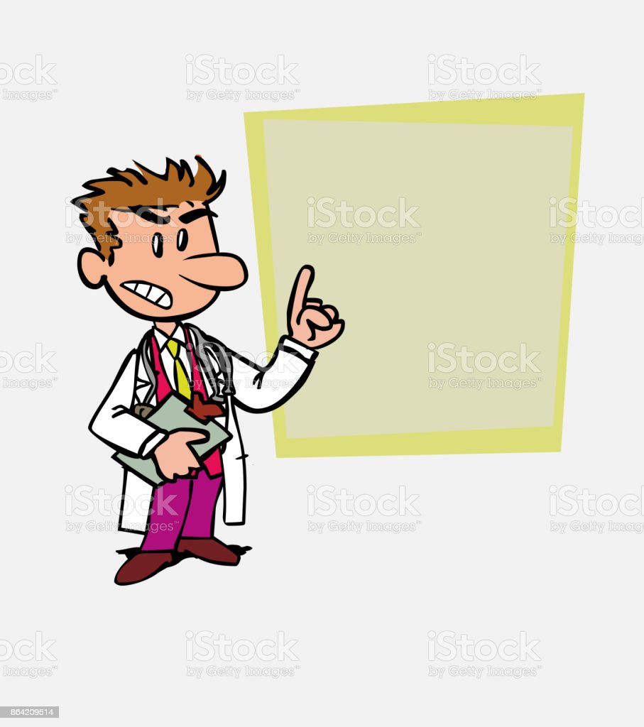 White doctor decided, somewhat angry. Is showing, as in a presentation, the data you want. royalty-free white doctor decided somewhat angry is showing as in a presentation the data you want stock vector art & more images of care