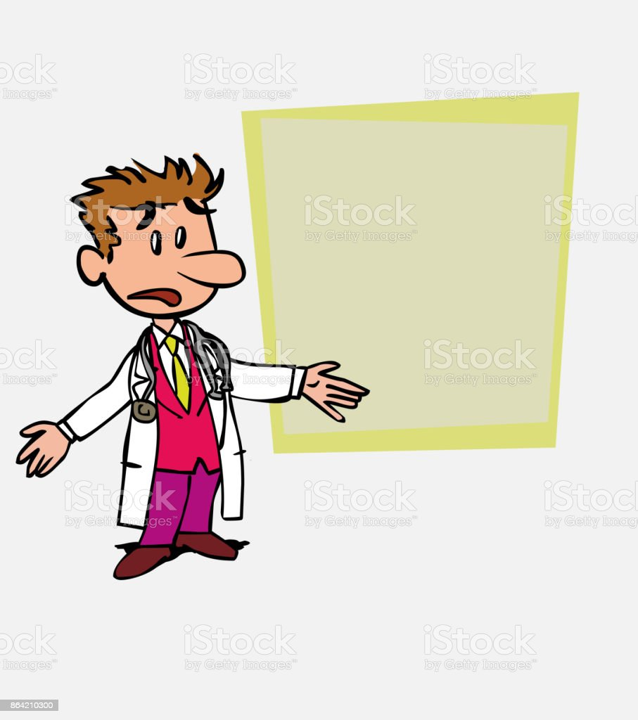White doctor disoriented and worried. Is showing, as in a presentation, the data you want. royalty-free white doctor disoriented and worried is showing as in a presentation the data you want stock vector art & more images of care
