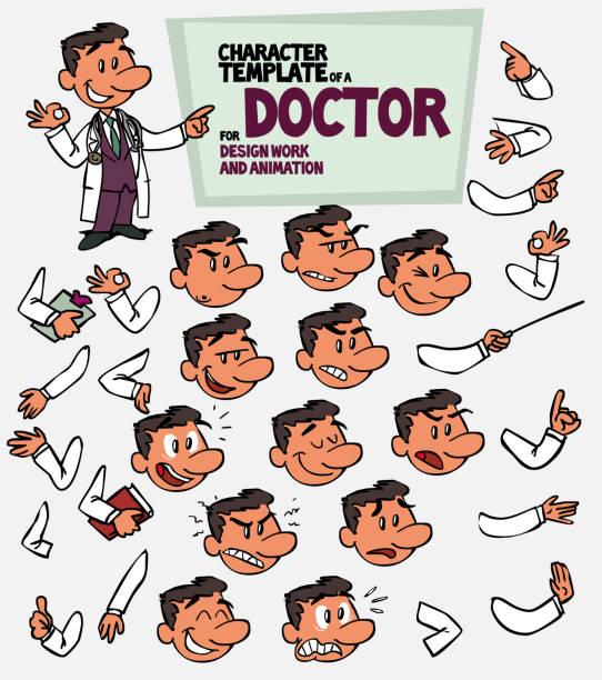 bildbanksillustrationer, clip art samt tecknat material och ikoner med vita läkare. ansikte och kropp element, delar av kroppen mall för design och animation. vektorillustration isolerade och rolig tecknad karaktär. - graphs animation