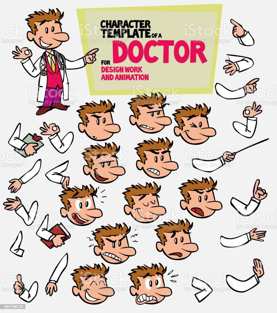White doctor. Face and body elements, parts of body template for design work and animation. Vector illustration to Isolated and funny cartoon character. royalty-free white doctor face and body elements parts of body template for design work and animation vector illustration to isolated and funny cartoon character stock vector art & more images of care