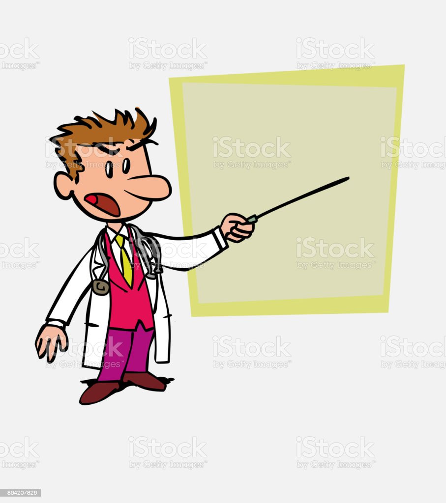 White doctor points out, angry, with a pointer. Is showing, as in a presentation, the data you want. royalty-free white doctor points out angry with a pointer is showing as in a presentation the data you want stock vector art & more images of care