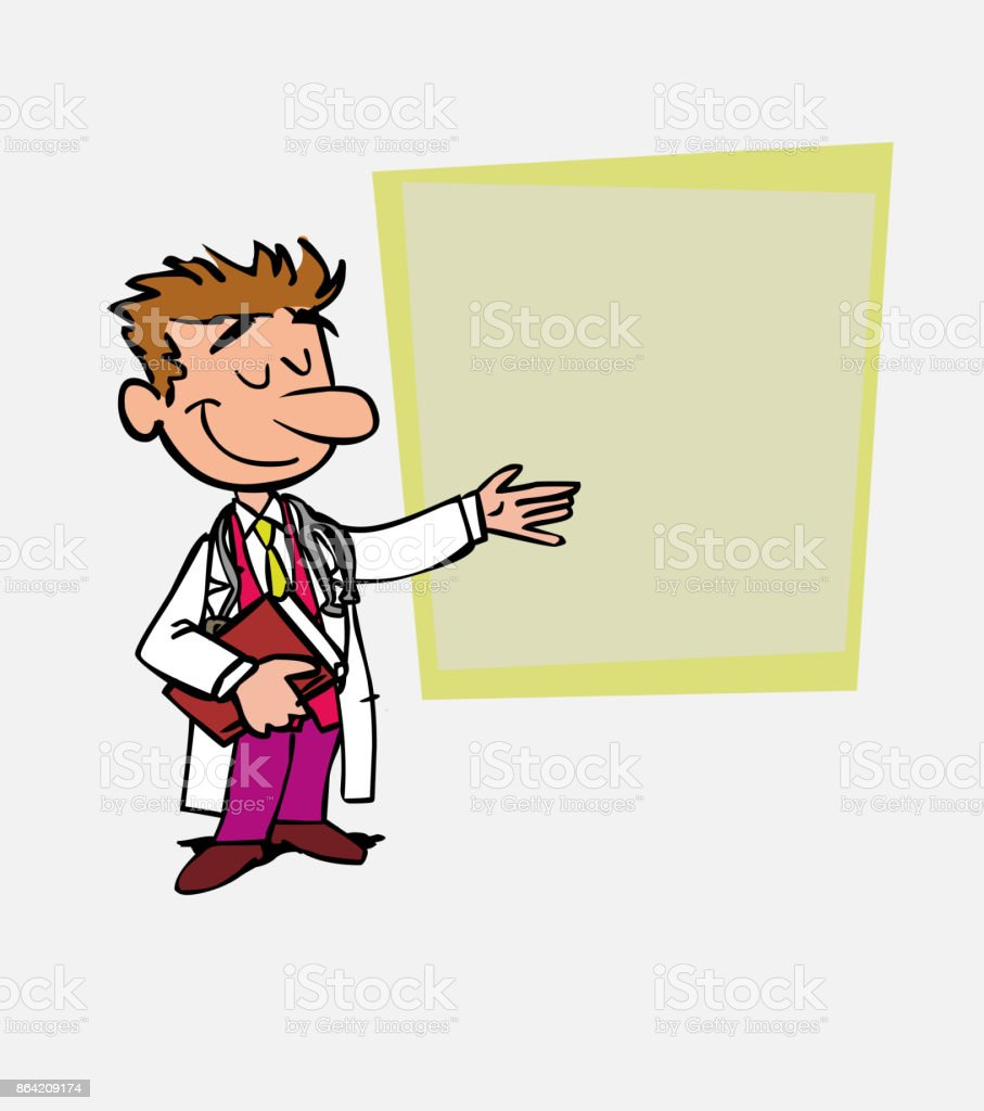 White doctor points, relaxed, with a book in his hand. Is showing, as in a presentation, the data you want. royalty-free white doctor points relaxed with a book in his hand is showing as in a presentation the data you want stock vector art & more images of care