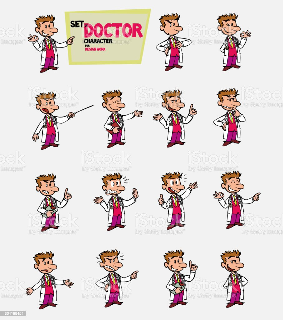 White doctor. Set of postures of the same character in different expressions. Sad, happy, angry ... Always showing, as in a presentation, the data you want. royalty-free white doctor set of postures of the same character in different expressions sad happy angry always showing as in a presentation the data you want stock vector art & more images of care