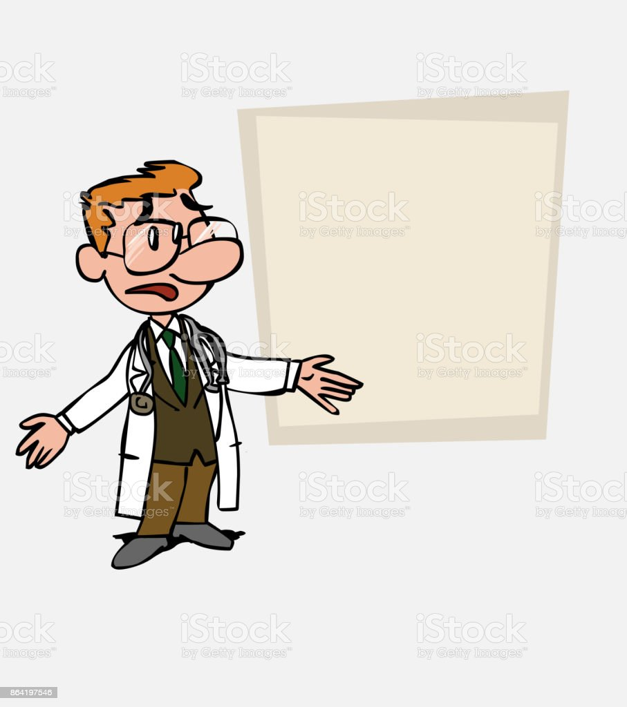 White doctor with glasses disoriented and worried. Is showing, as in a presentation, the data you want. royalty-free white doctor with glasses disoriented and worried is showing as in a presentation the data you want stock vector art & more images of care