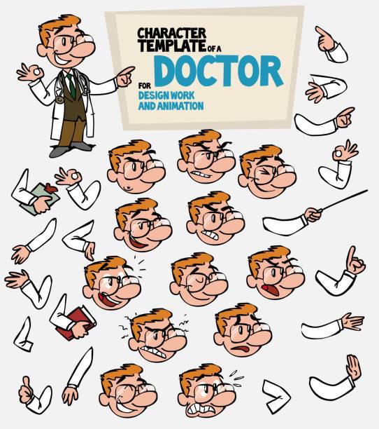bildbanksillustrationer, clip art samt tecknat material och ikoner med vita läkare med glasögon. ansikte och kropp element, delar av kroppen mall för design och animation. vektorillustration isolerade och rolig tecknad karaktär. - graphs animation