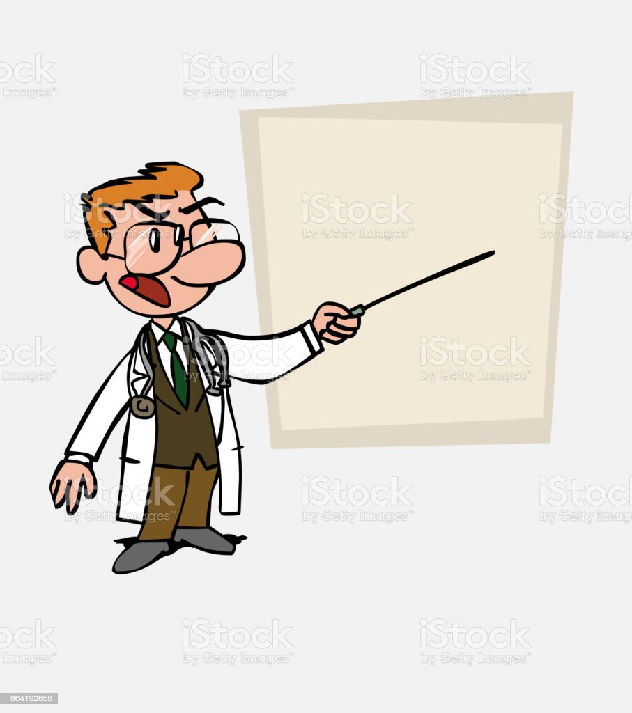 White doctor with glasses points out, angry, with a pointer. Is showing, as in a presentation, the data you want. royalty-free white doctor with glasses points out angry with a pointer is showing as in a presentation the data you want stock vector art & more images of care