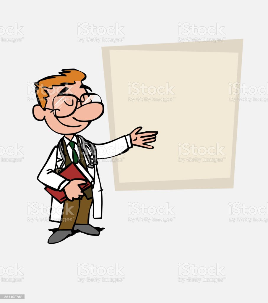 White doctor with glasses points, relaxed, with a book in his hand. Is showing, as in a presentation, the data you want. royalty-free white doctor with glasses points relaxed with a book in his hand is showing as in a presentation the data you want stock vector art & more images of care