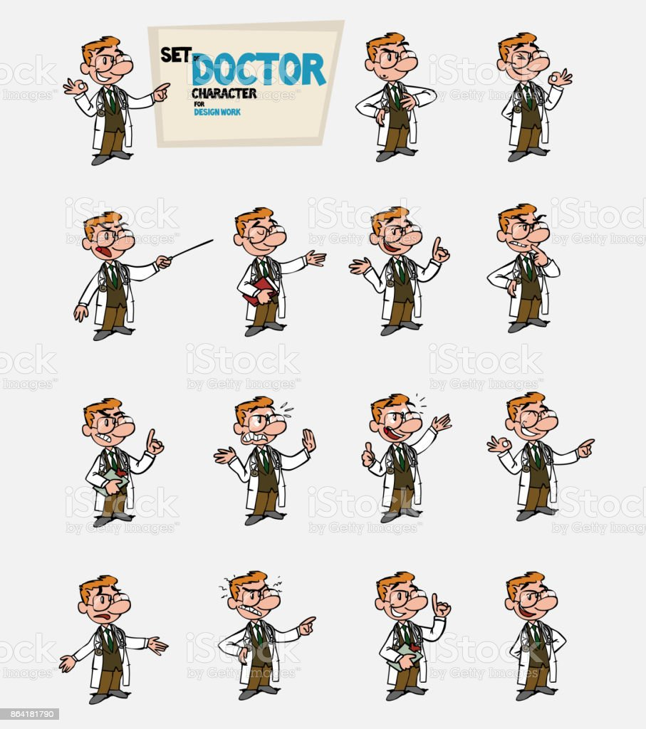White doctor with glasses. Set of postures of the same character in different expressions. Sad, happy, angry ... Always showing, as in a presentation, the data you want. royalty-free white doctor with glasses set of postures of the same character in different expressions sad happy angry always showing as in a presentation the data you want stock vector art & more images of care