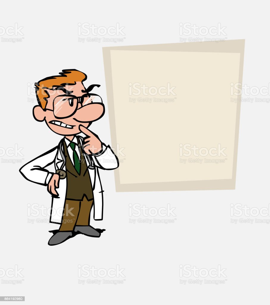 White doctor with glasses worried and doubtful. Is showing, as in a presentation, the data you want. royalty-free white doctor with glasses worried and doubtful is showing as in a presentation the data you want stock vector art & more images of care