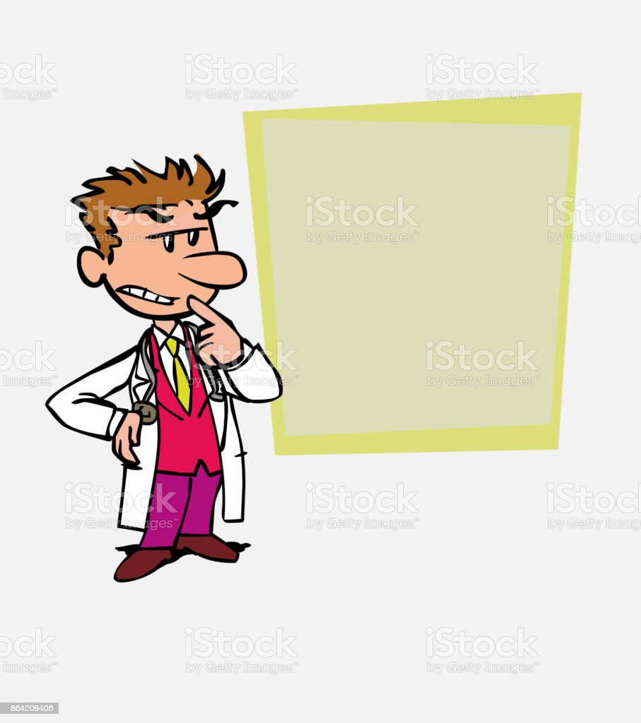 White doctor worried and doubtful. Is showing, as in a presentation, the data you want. royalty-free white doctor worried and doubtful is showing as in a presentation the data you want stock vector art & more images of care