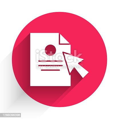 istock White Document and cursor icon isolated with long shadow. File icon. Checklist icon. Business concept. Red circle button. Vector Illustration 1266096398